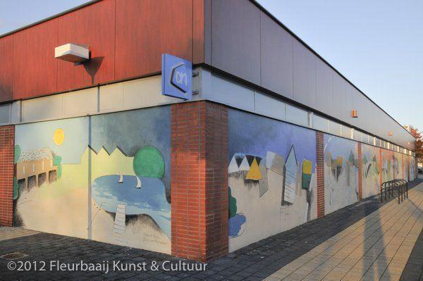 Muurschildering Botplein